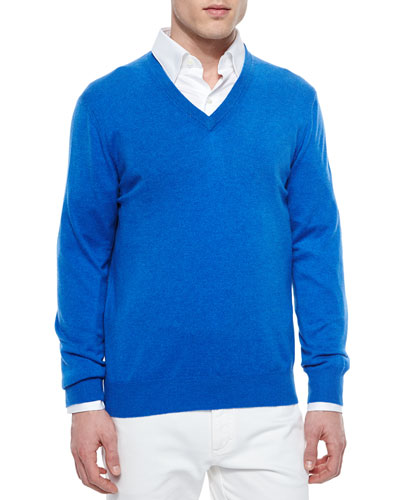 Premium Cashmere V-Neck Sweater, Caribbean Blue