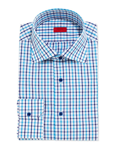 Isaia Box-Check Button-Down Shirt, Turquoise/Navy