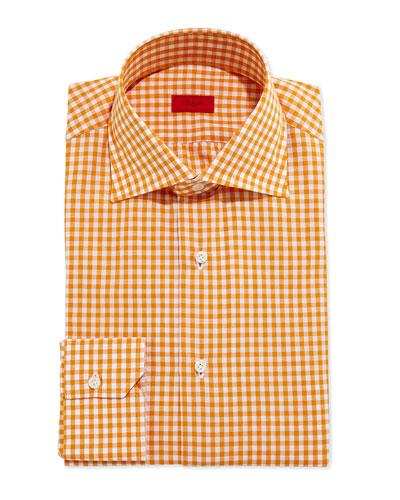 Gingham Dress Shirt, Burnt Orange