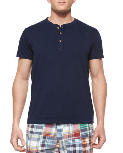 Short-Sleeve Woven Henley Tee, Navy