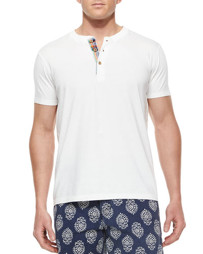 Contrast-Placket Woven Henley Tee, White