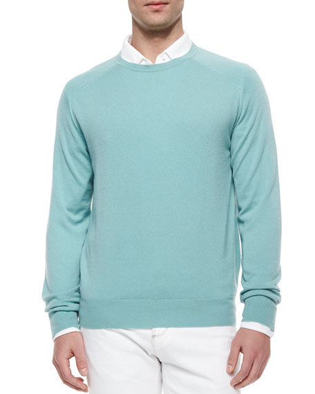 Loro Piana Roadster Cashmere Crewneck Sweater, Jade