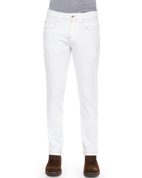Loro Piana Five-Pocket Slim-Fit Dyed Denim Jeans, White