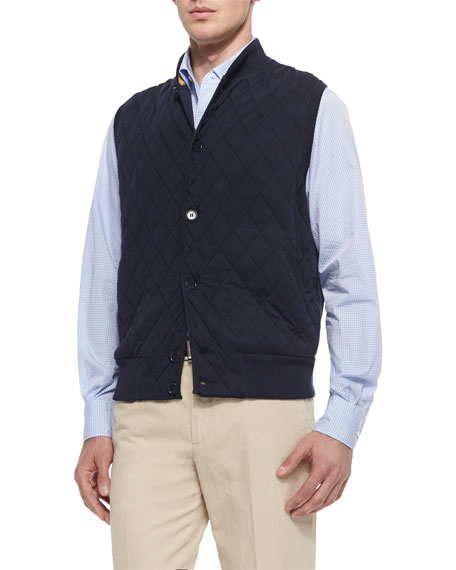 Loro Piana Horsey Cashmere-Blend Sweater Vest, Navy