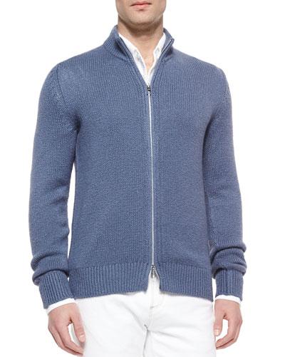 Roadster Baby Cotton/Cashmere Mezzo Full-Zip Sweater, Smoke Blue