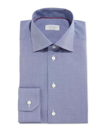 Contemporary Textured Check Dress Shirt, Navy