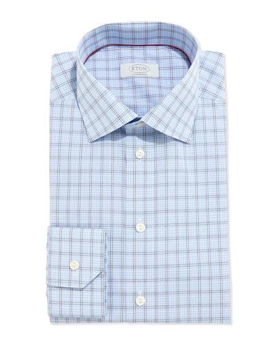 Contemporary Windowpane-Check Dress Shirt, Blue