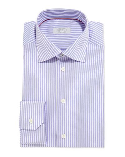 Contemporary Striped Dress Shirt, Purple/White
