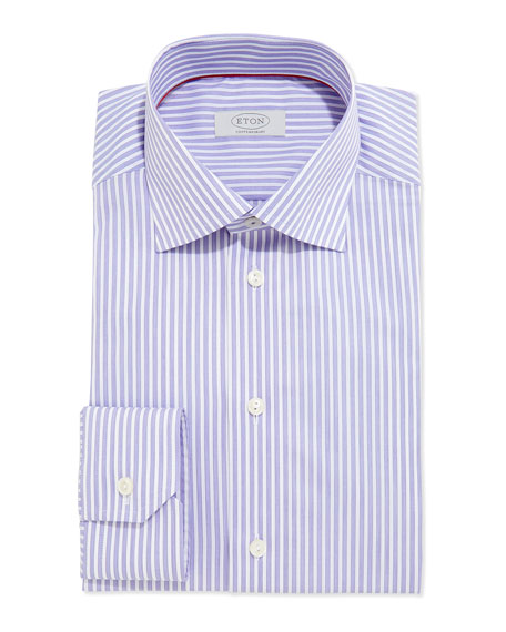 Eton contemporary striped dress shirt purple white for Purple striped dress shirt