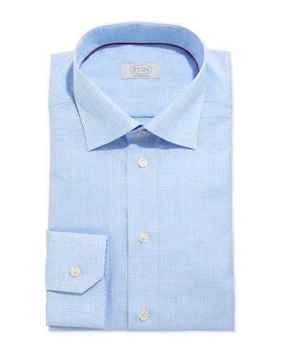 Contemporary Glen Plaid Woven Dress Shirt, Light Blue