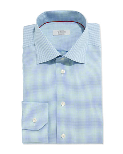 Small-Check Dress Shirt, Blue/Green