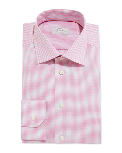 Small-Check Dress Shirt, Pink