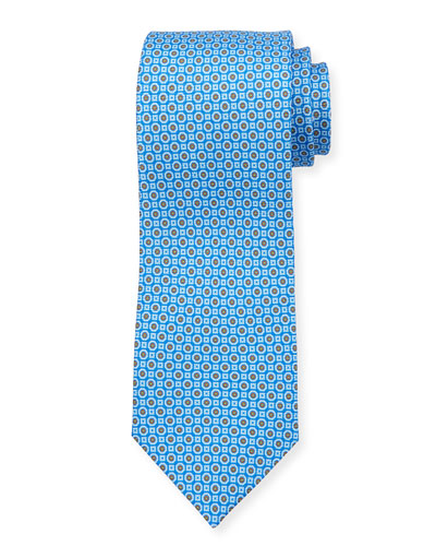 Medallion Neat Silk Tie, Blue