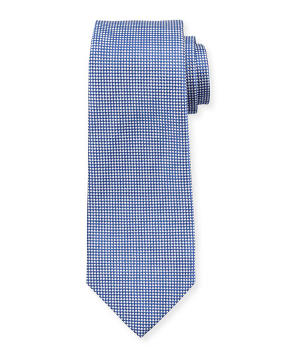 Textured Dot Silk Tie, Navy