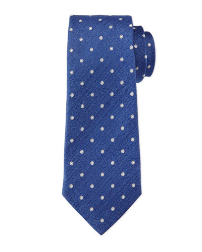 Circle-Patterned Silk Tie, Navy/Gray