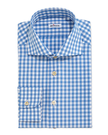 Kiton gingham check dress shirt blue white neiman marcus for Blue check dress shirt