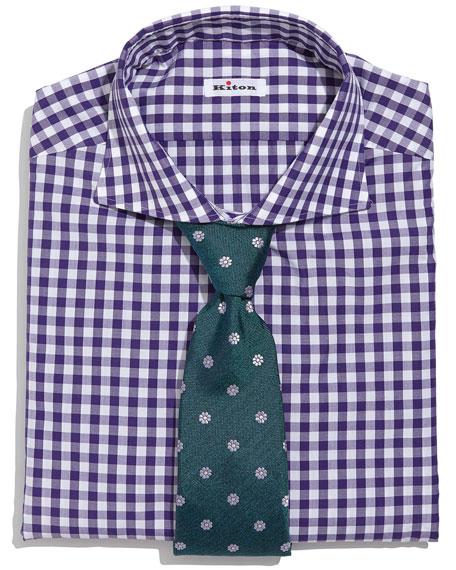 Kiton Gingham Check Dress Shirt Purple White
