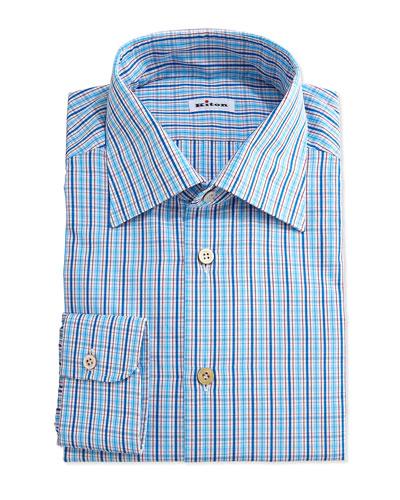 Multi-Check Woven Dress Shirt, Blue/Red