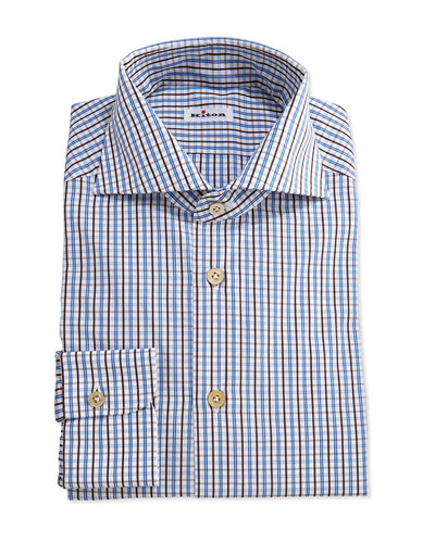 Tattersall Woven Dress Shirt, Brown/Blue