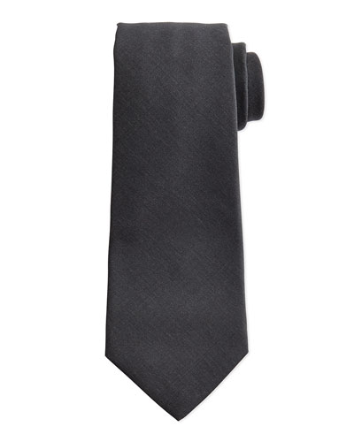 Solid Woven 15-Micron Tie, Charcoal