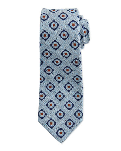 Circle-Medallion Chambray Tie, Navy