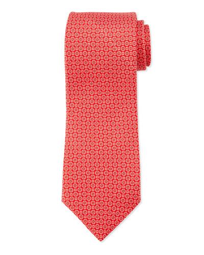 Medallion Neat Silk Tie, Red