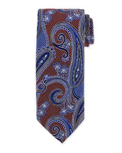 Woven Paisley Tie, Burgundy
