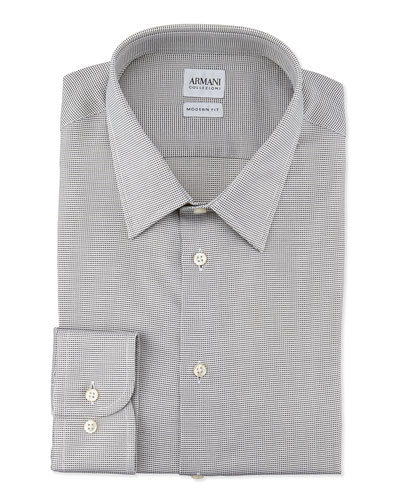 Modern-Fit Textured Mini-Check Dress Shirt, Light Gray