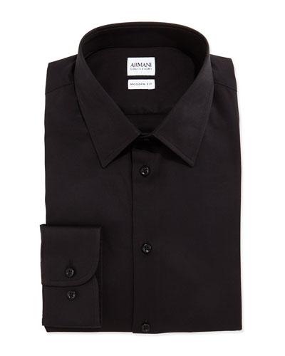 Modern Fit Stretch-Poplin Dress Shirt, Black