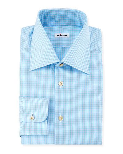 Mini-Check Woven Dress Shirt, Aqua/Gray