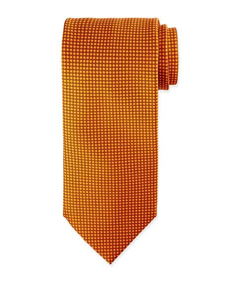 Micro-Dot Neat Silk Tie, Orange