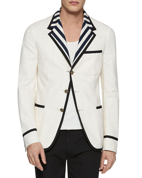 Gucci New Palma Solid-to-Stripe Reversible Jacket, Cream