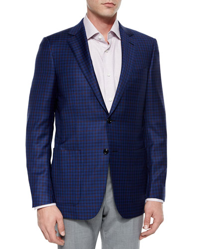 Check Wool Sport Coat, Navy/Brick