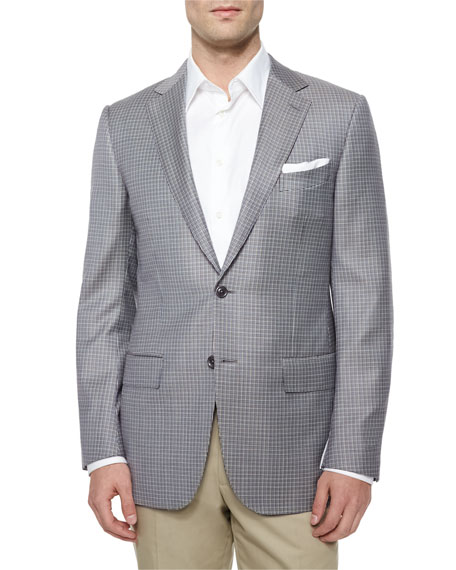 Ermenegildo Zegna Micro-Check Two-Button Jacket, Tan/Blue