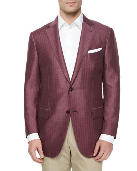 Ermenegildo Zegna Washed Cashmere/Silk Herringbone Jacket, Red