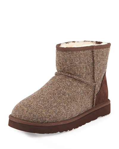 Tweed Classic Mini Boot, Dark Brown
