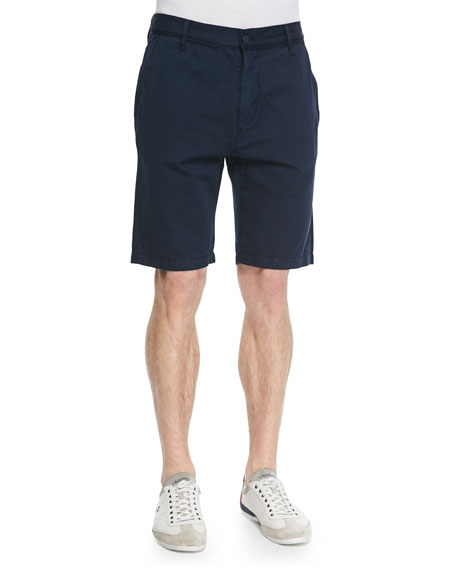 7 For All Mankind Woven Cotton Chino Shorts Navy Neiman