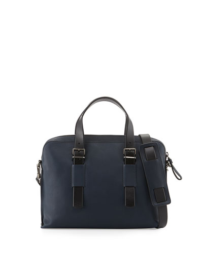 Leather Business Bag, Navy