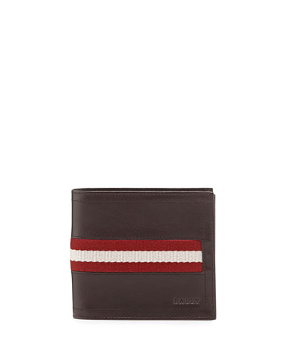 Leather Logo Bi-Fold Wallet, Chocolate