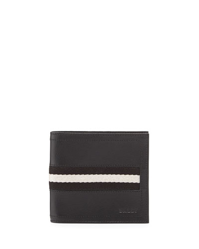 Leather Logo Bi-Fold Wallet, Black
