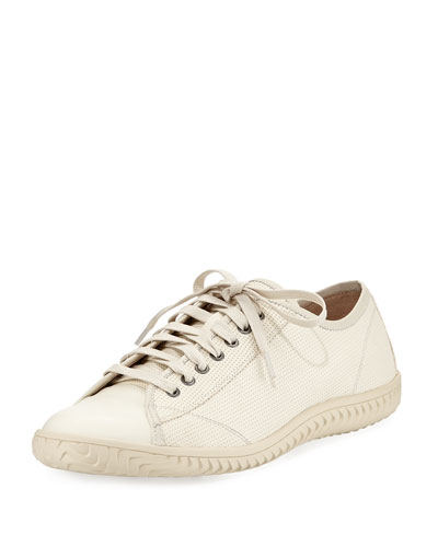 Hattan Low-Top Leather Sneaker, Cream