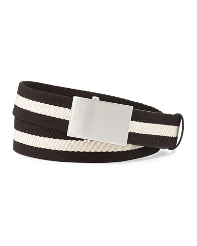 Teis Striped Logo Belt, Black/Beige