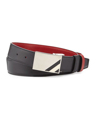 Theydon Reversible Leather Belt, Black