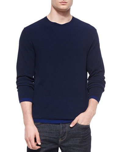 Contrast-Cuff Crewneck Sweater, Navy