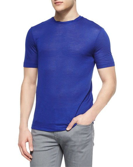 Armani Collezioni Tonal Stripe Short-Sleeve T-Shirt, Bright Blue