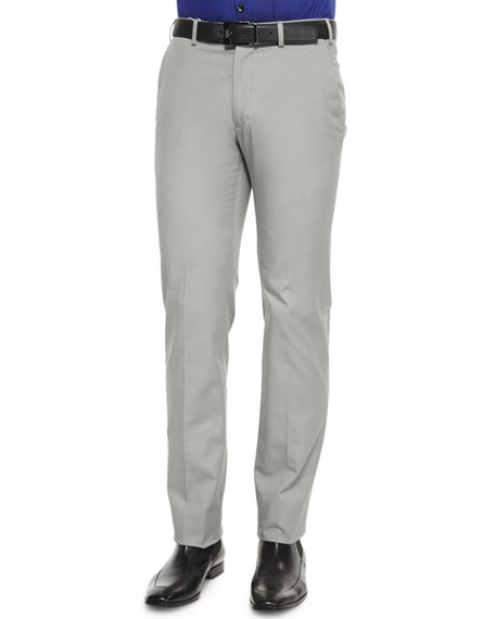 Armani Collezioni Stretch-Cotton Flat Front Trousers, Dark Gray