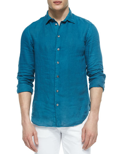 Solid Long-Sleeve Linen Shirt, Teal
