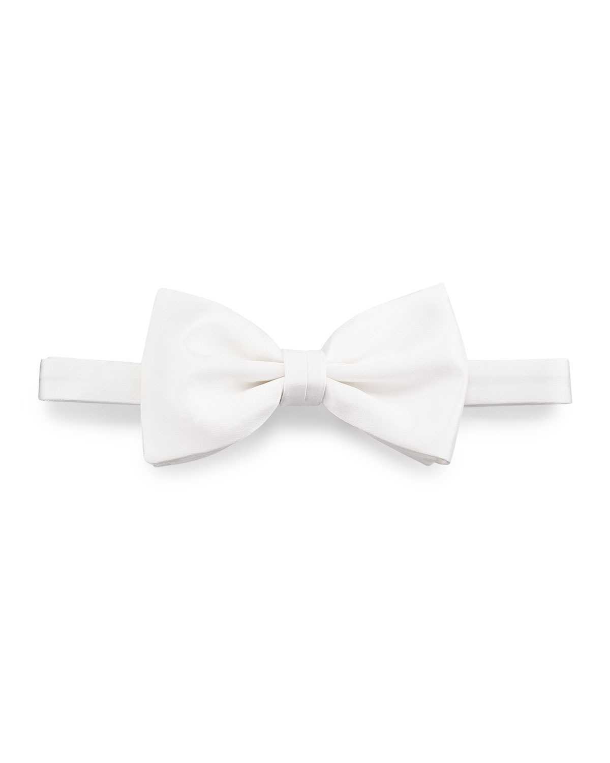 Brioni Satin Bow Tie, Off White