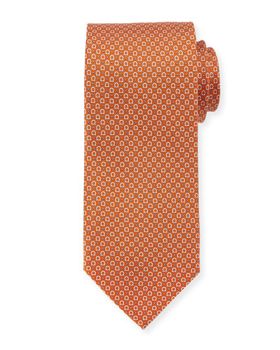 Silk Gancini-Print Tie, Orange