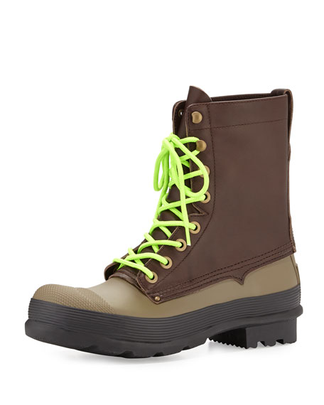 Hunter Boot Original Rubber Lace-Up Two-Tone Boots, Brown/Green